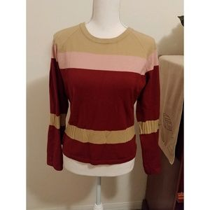 J. Crew maroon wool color block sweater size M
